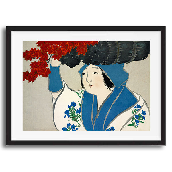 Woman carrying basket painting retro vintage Japanese wall art print framed and unframed