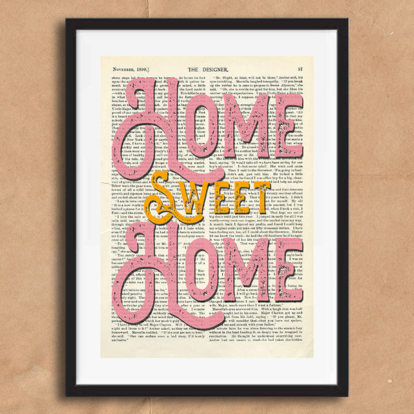 Home Sweet Home Quote Typography on words wall art print framed poster