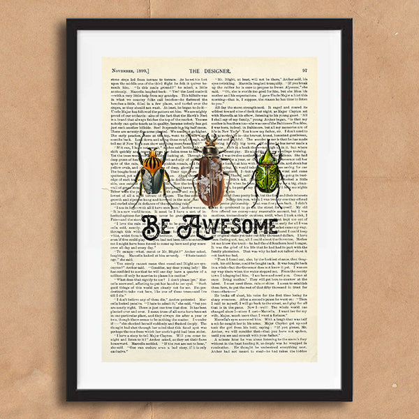 Be Awesome Vintage Style Art on Words Quote Typography wall print framed and unframed