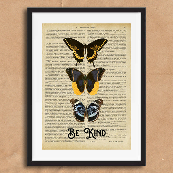 Be Kind Vintage Style Art on Words Quote Typography wall print framed and unframed