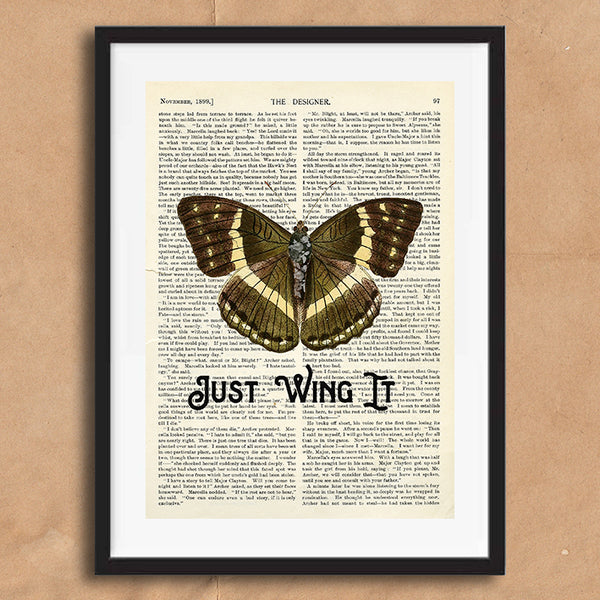 Just Wing It Vintage Style Art on Words Quote Typography wall print framed and unframed