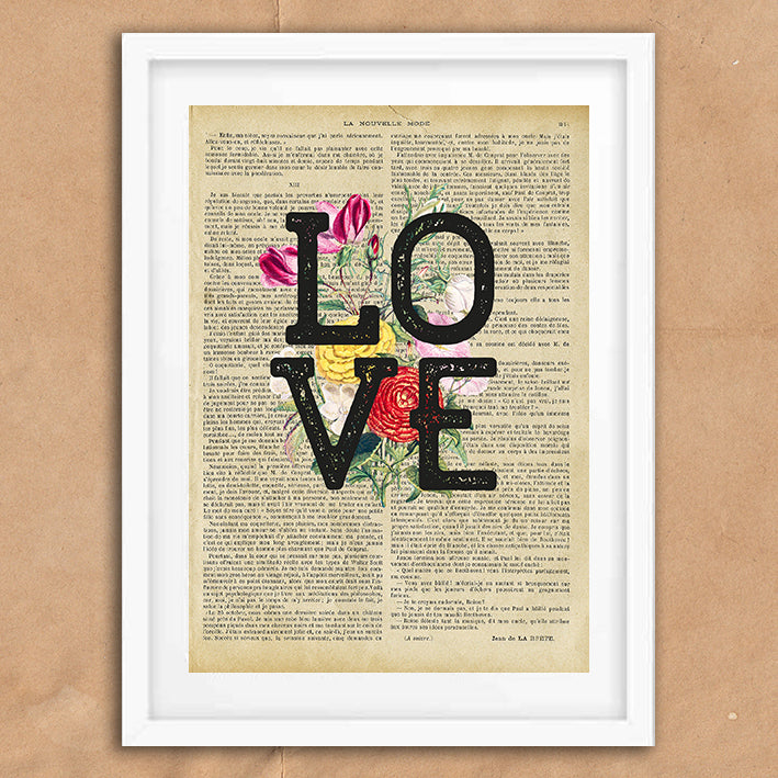 Love Floral Vintage Style Art on Words Quote Typography wall print framed and unframed