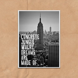 Empire State of Mind New York Vintage Style Lyric Quote Typography wall art print framed and unframed