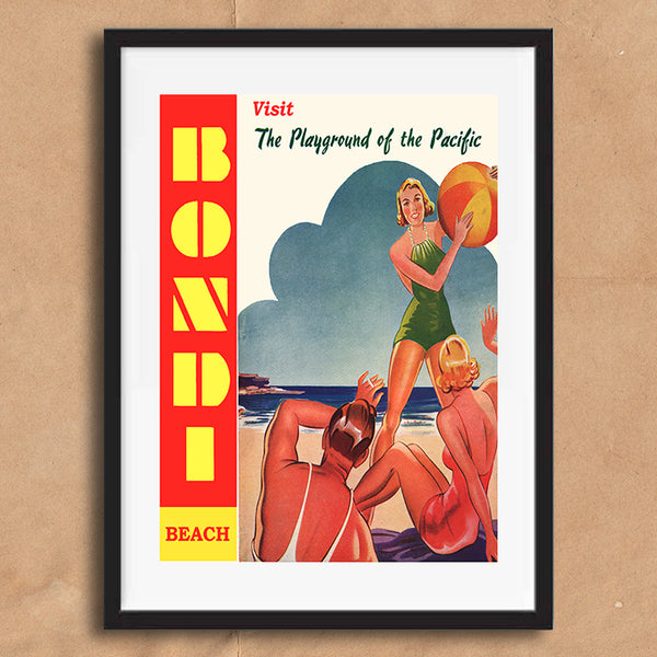 Bondi Beach Australia retro vintage travel poster art print framed and unframed