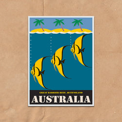 Great Barrier Reef Australia retro vintage travel poster art print framed and unframed