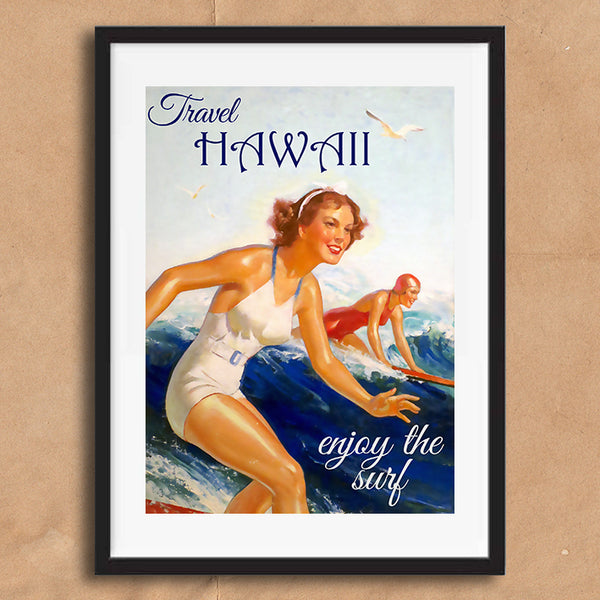 Surfing Hawaii retro vintage travel poster art print framed and unframed