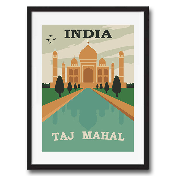Taj Mahal India retro vintage travel poster art print framed and unframed