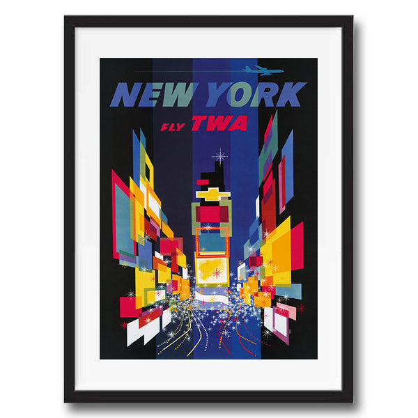 New York Times Square USA retro vintage travel poster art print framed and unframed