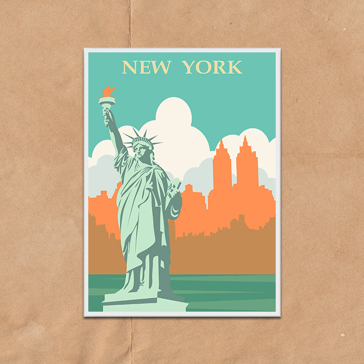New York Statue Liberty USA retro vintage travel poster art print framed and unframed