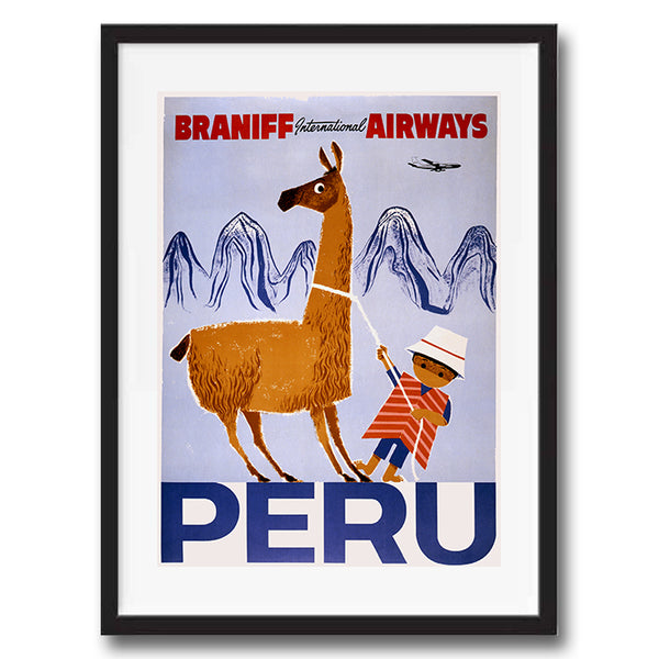 Peru retro vintage travel poster art print framed and unframed