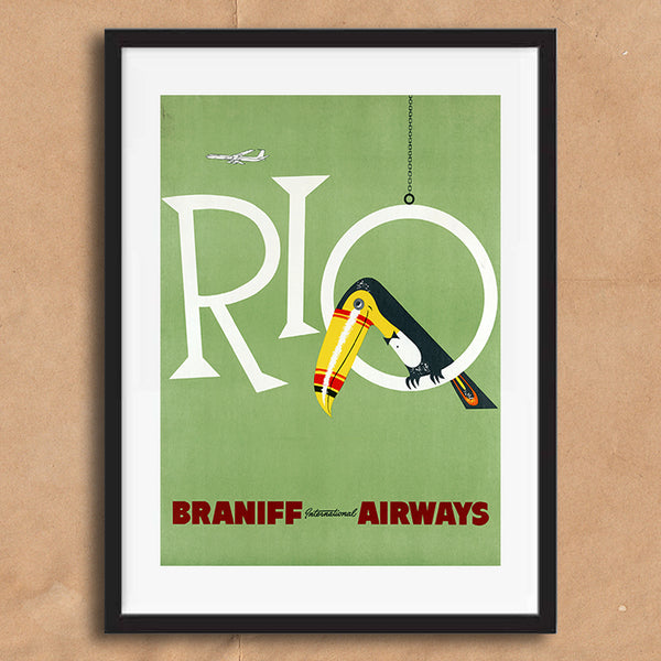 Rio Brazil retro vintage travel poster art print framed and unframed