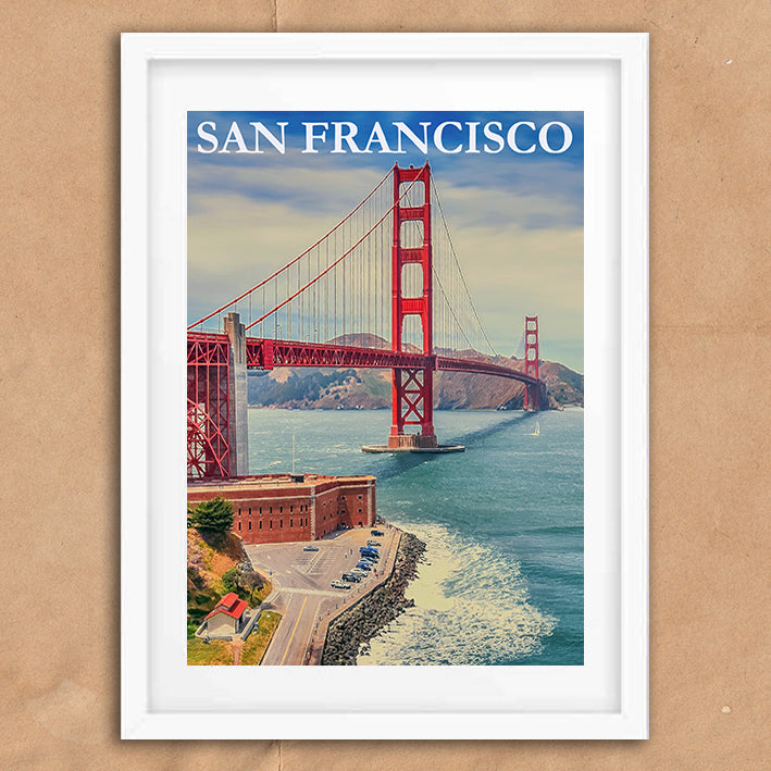 San Francisco USA retro vintage travel poster art print framed and unframed