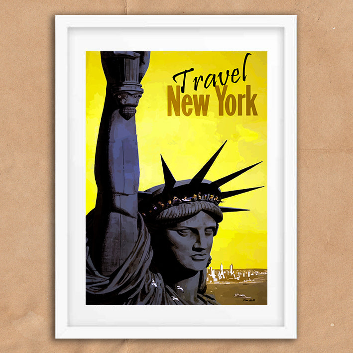 New York Statue Liberty retro vintage travel poster art print framed and unframed