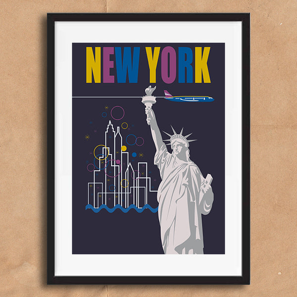 New York USA retro vintage travel poster art print framed and unframed