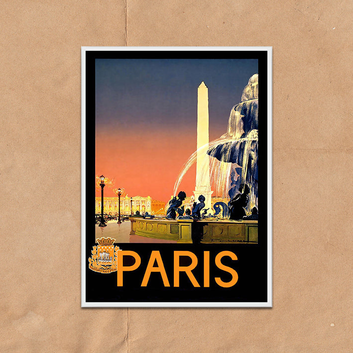Paris France retro vintage travel poster art print framed and unframed