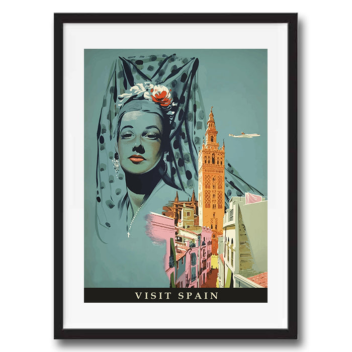 Spain retro vintage travel poster art print framed and unframed