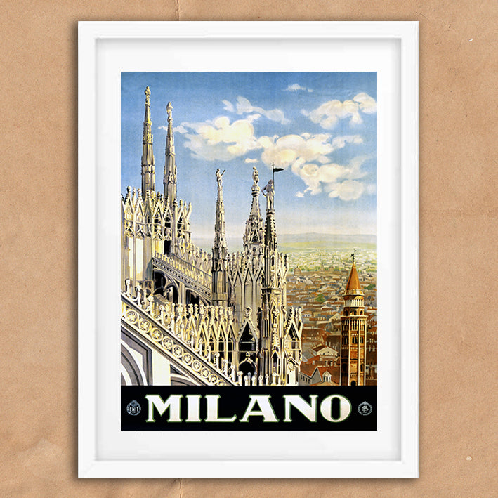 Milan Italy retro vintage travel poster art print framed and unframed