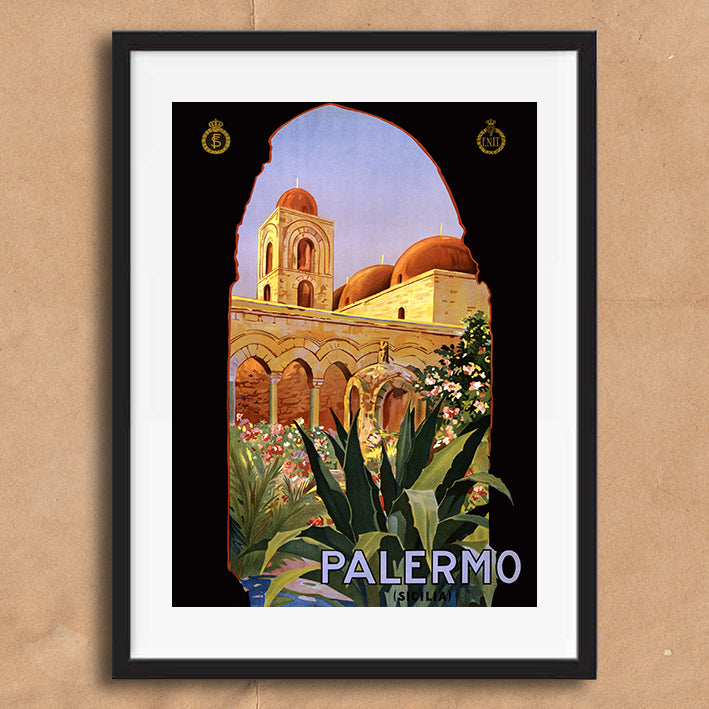Palermo Sicily retro vintage travel poster art print framed and unframed