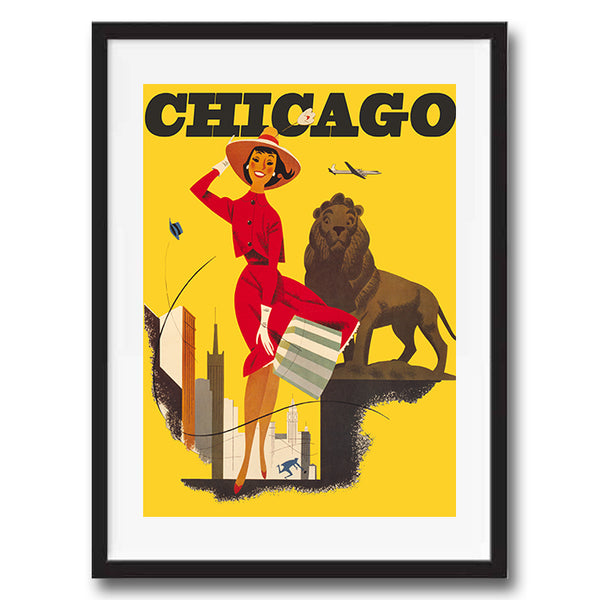Chicago USA retro vintage travel poster art print framed and unframed