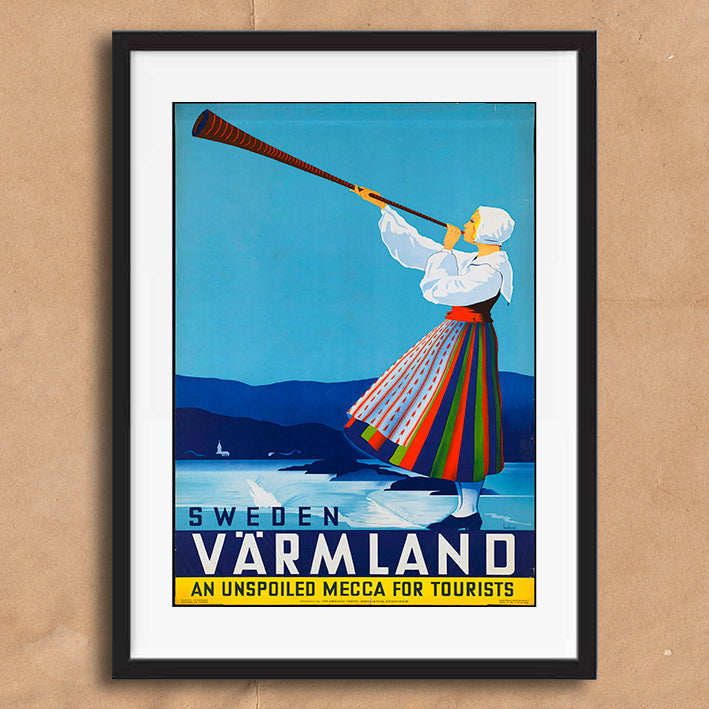 Sweden retro vintage travel poster art print framed and unframed