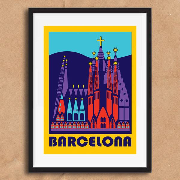 Barcelona retro vintage travel poster art print framed and unframed