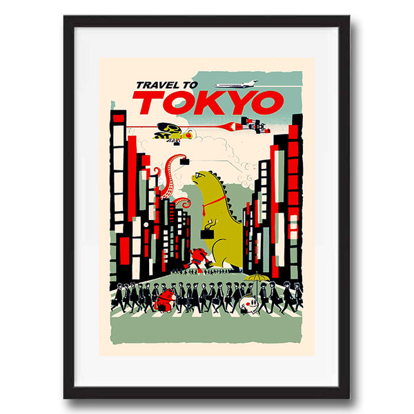 Tokyo retro vintage travel poster art print framed and unframed