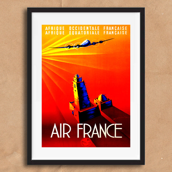 Air France Africa retro vintage travel poster art print framed and unframed