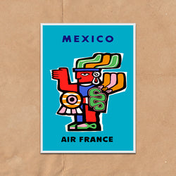 Air France Mexico retro vintage travel poster art print framed and unframed