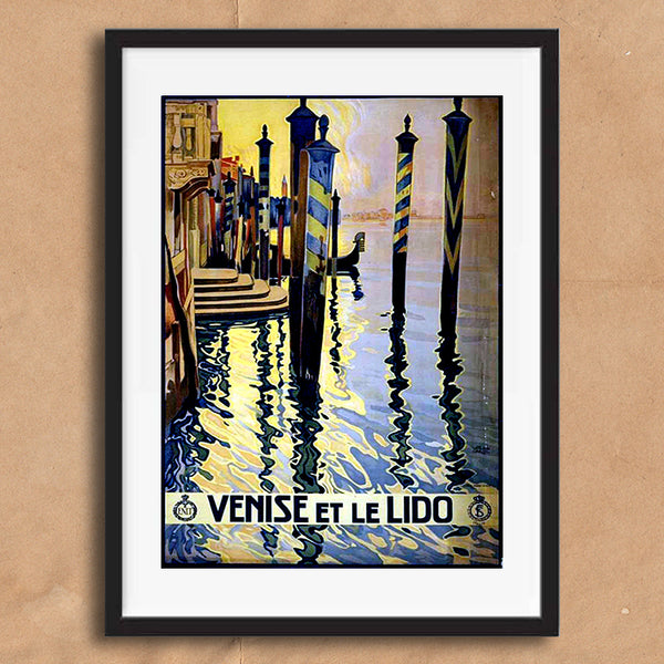Venice Italy retro vintage travel poster art print framed and unframed