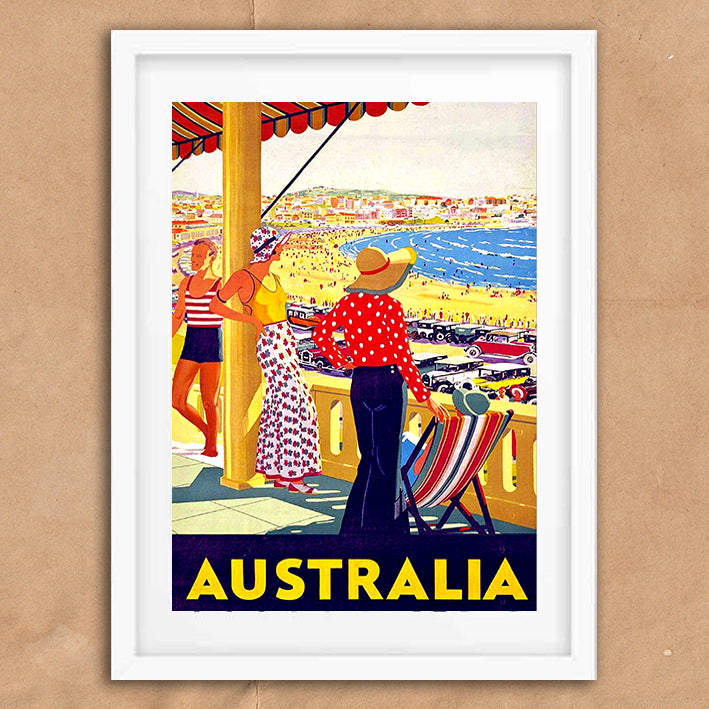 Australia retro vintage travel poster art print framed and unframed