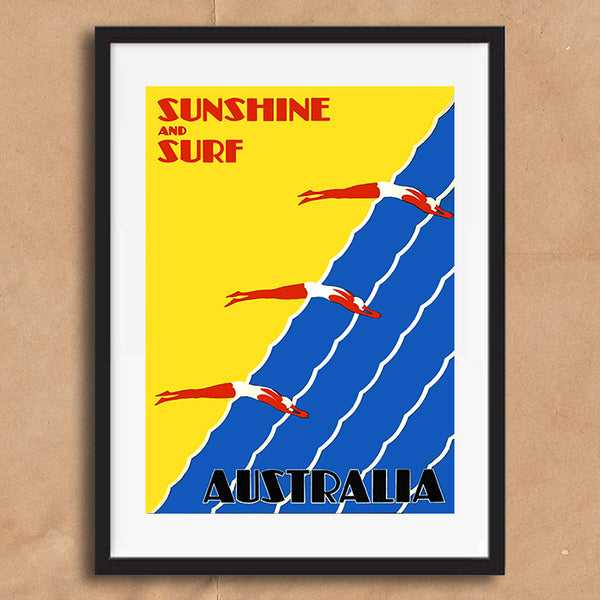 Australia Surf retro vintage travel poster art print framed and unframed