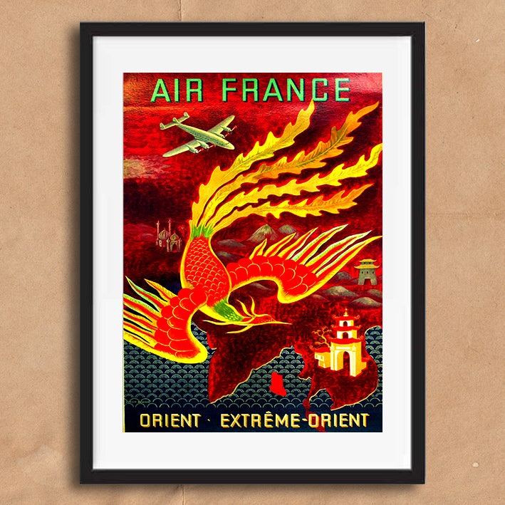 Air France Orient retro vintage travel poster art print framed and unframed