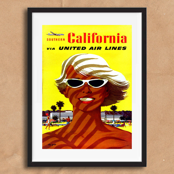 California retro vintage travel poster art print framed and unframed