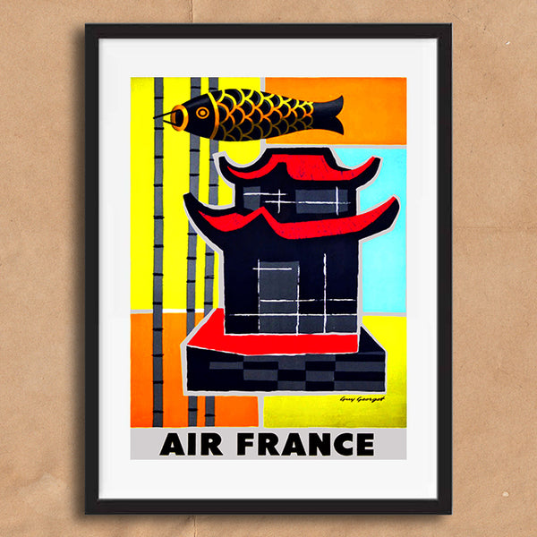 Air France China retro vintage travel poster art print framed and unframed