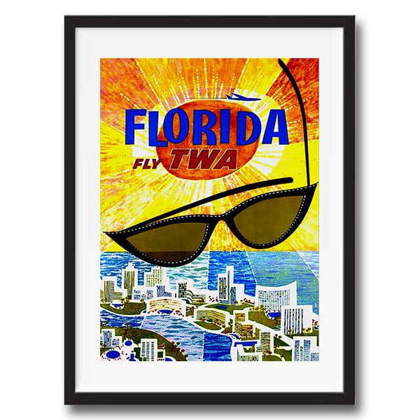Florida USA retro vintage travel poster art print framed and unframed