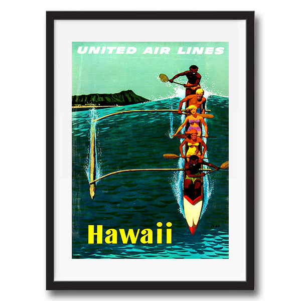 Hawaii USA retro vintage travel poster art print framed and unframed