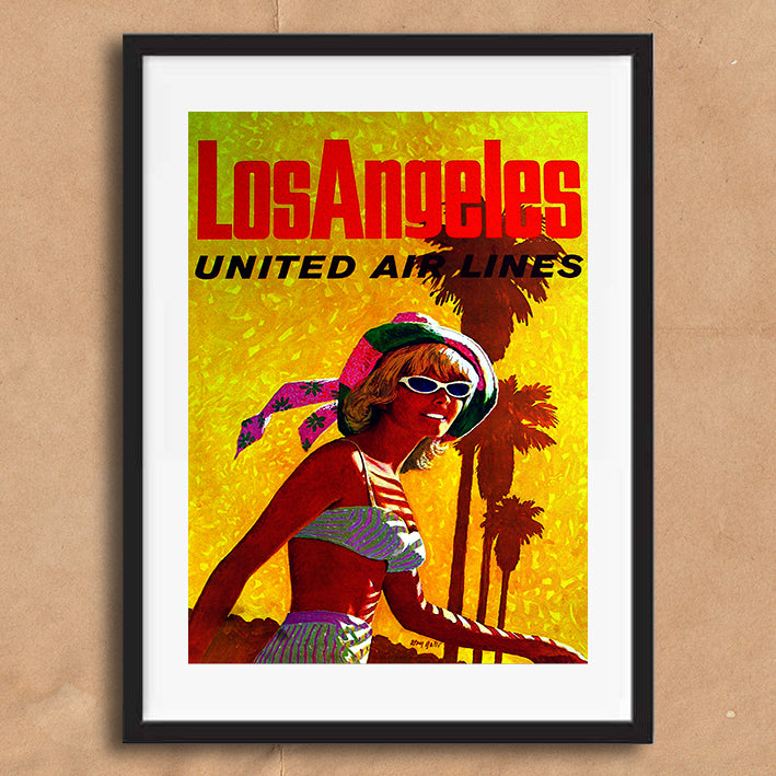 Los Angeles USA retro vintage travel poster art print framed and unframed