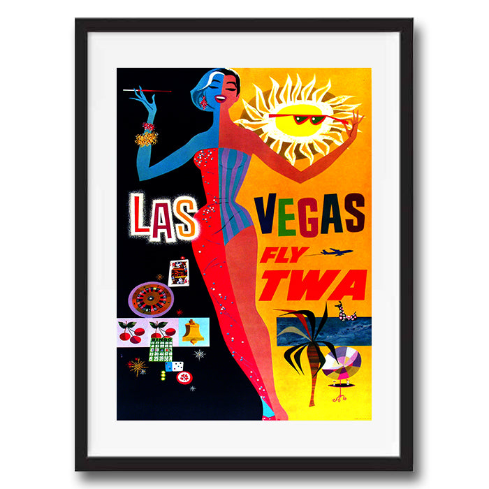 Las Vegas USA retro vintage travel poster art print framed and unframed