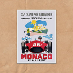 Monaco Grand Prix retro vintage travel poster art print framed and unframed