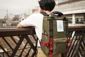 EVANGELION RUCK SACK with SYMBOL TAG<BR>by FIRE FIRST (WILLE MODEL(OLIVE))<BR>EVFF-20 OL