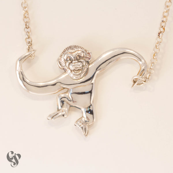 Sterling Silver Barrel of Monkeys Necklace