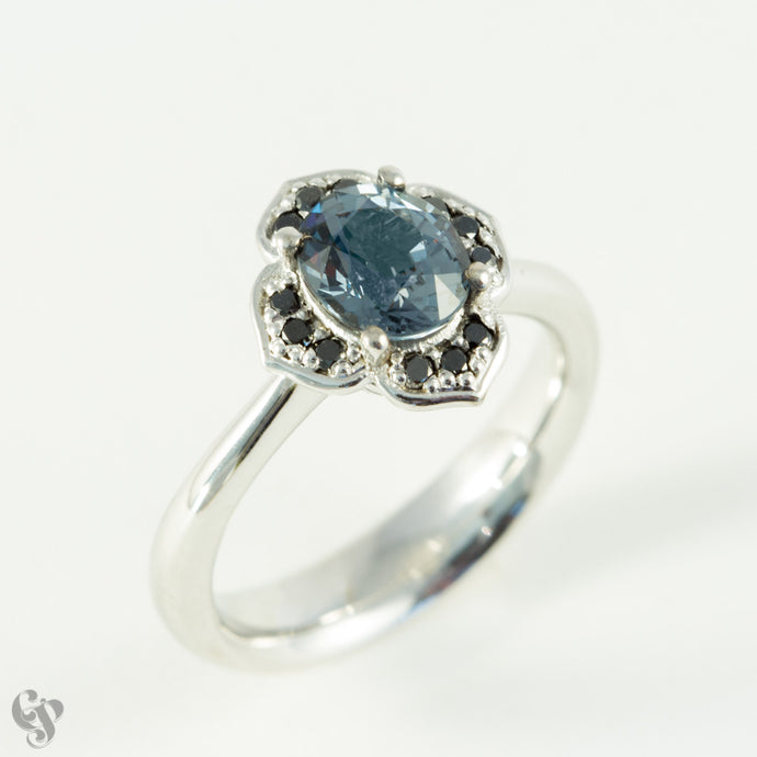 White Gold Grey Spinel and Black Diamond Ring