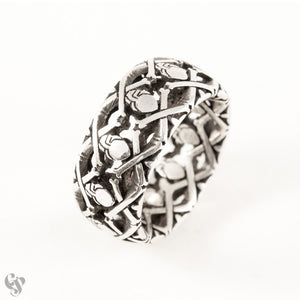 Sterling Silver Repeated Hearts and Crossbones Ring