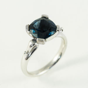 White Gold Cushion Cut London Blue Topaz Ring