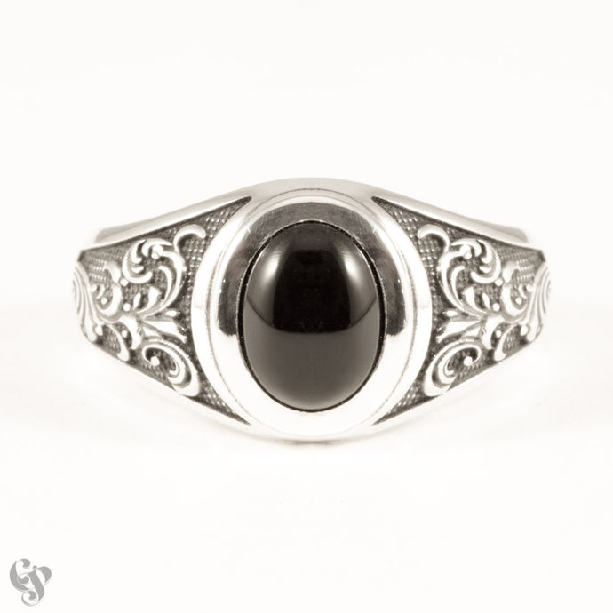 Sterling Silver Onyx Ring with Engraved Shoulder Detail