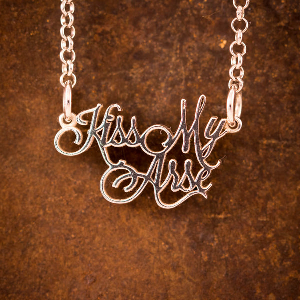 "Sterling Silver ""Kiss My Arse"" Necklace"