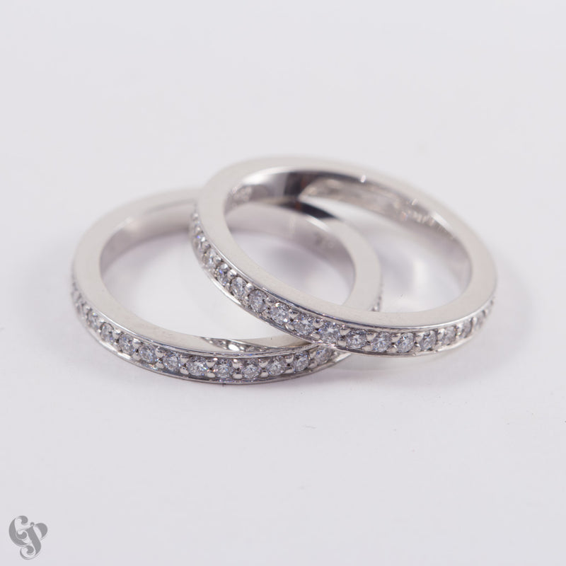 Fine bead set Diamond Wedding and Eternity Rings