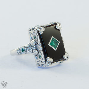 White Gold  Onyx and Emerald Filigree Ring