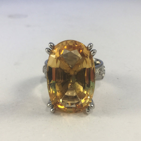Antique Citrine Platinum Ring