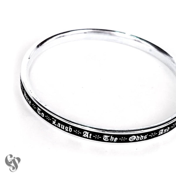 Sterling Silver Bukowski Bangle with Black Enamel background